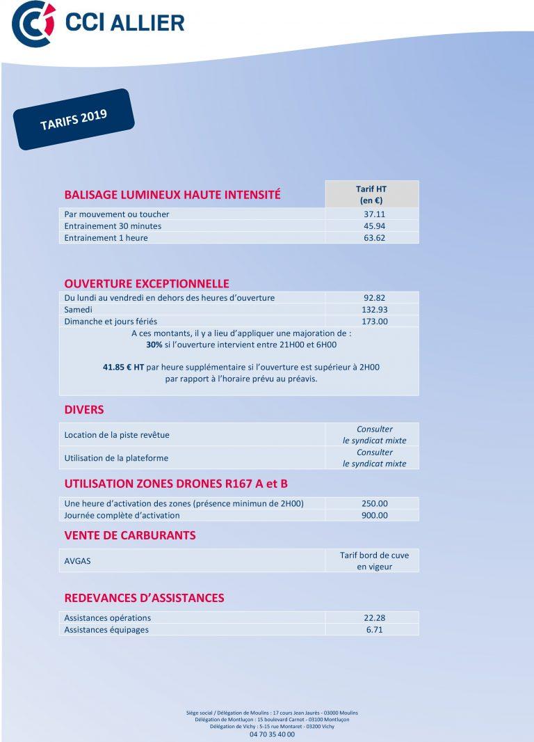 page des tarifs